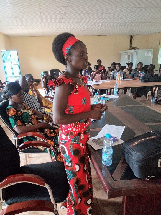 A participant giving her testimony on how women are denied the rights to own property in South Sudan during a seminar on the right of women to own property. A program supported by Atlas Network